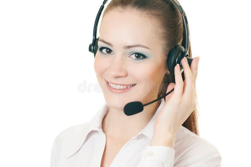 Llamada de la mujer con el receptor de cabeza fotografía de archivo