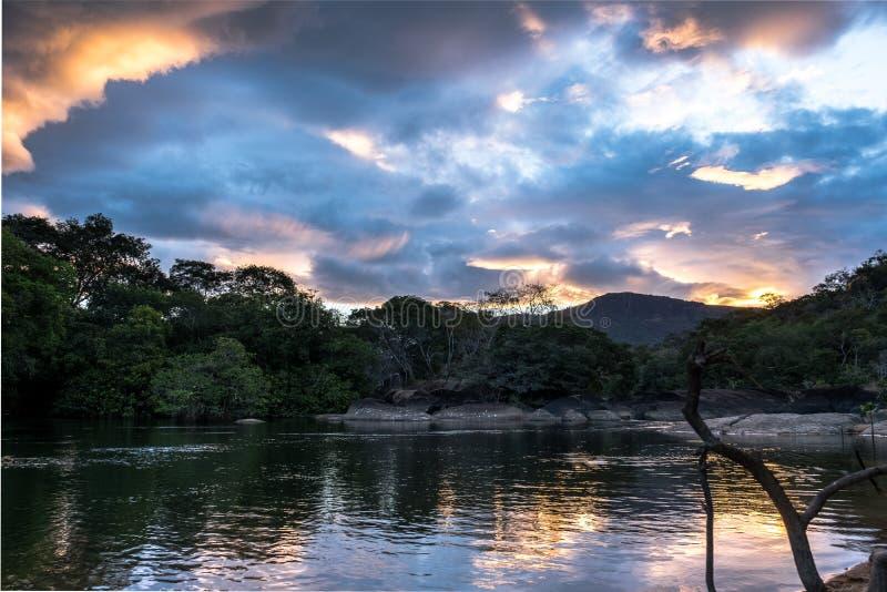Llamada de las naturalezas, puesta del sol hermosa en la selva fotografía de archivo libre de regalías