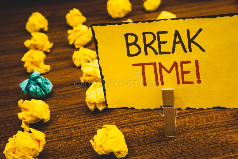 Llamada de motivación del tiempo de la rotura del texto de la escritura El momento del significado del concepto a parar el trabaj fotos de archivo