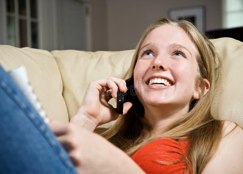Llamada de teléfono de las buenas noticias imagen de archivo