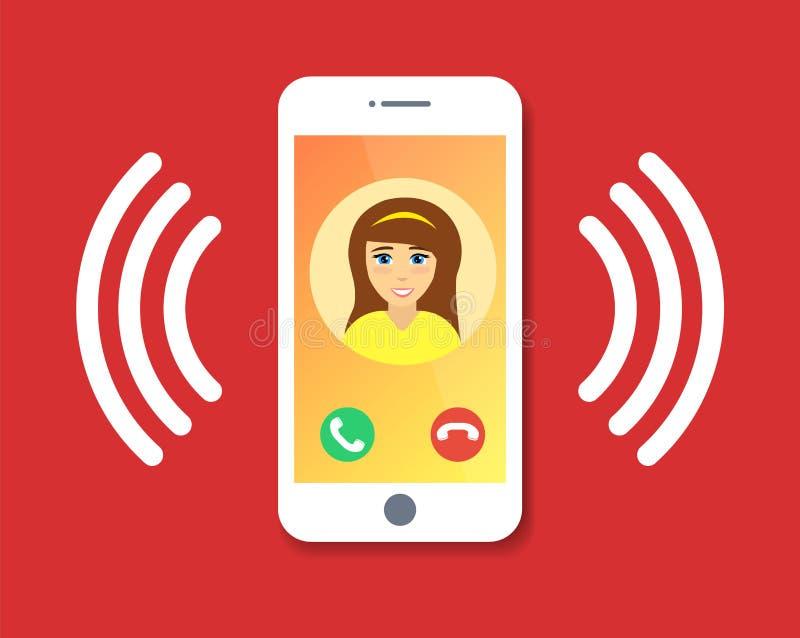 Llamada plana del teléfono móvil de la historieta con la información de contacto sobre la exhibición, anillo del icono del teléfo stock de ilustración