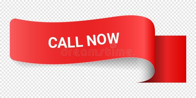 Llamada roja de la muestra del ejemplo del vector ahora Ejemplos para el márketing de la promoción para las impresiones y los car libre illustration