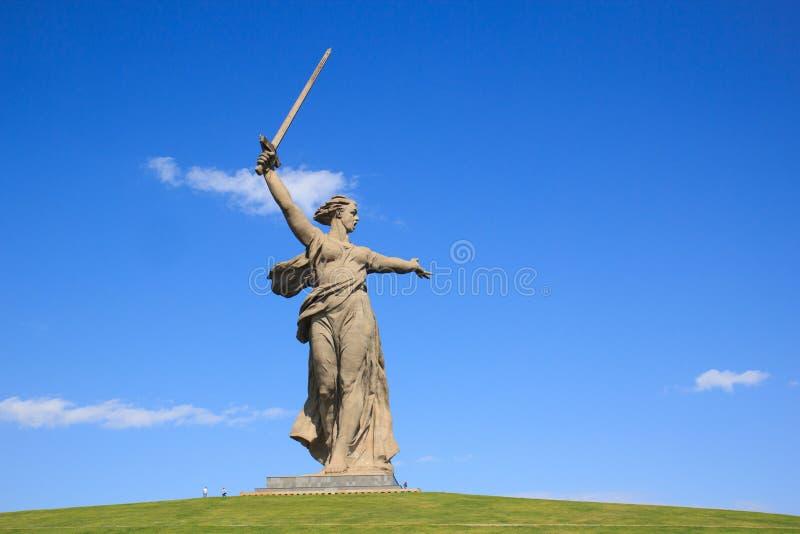 Llamadas de la patria del monumento de Stalingrad, Rusia imágenes de archivo libres de regalías