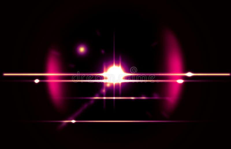 Llamarada abstracta en fondo negro Parece brillante, brillo ilustración del vector