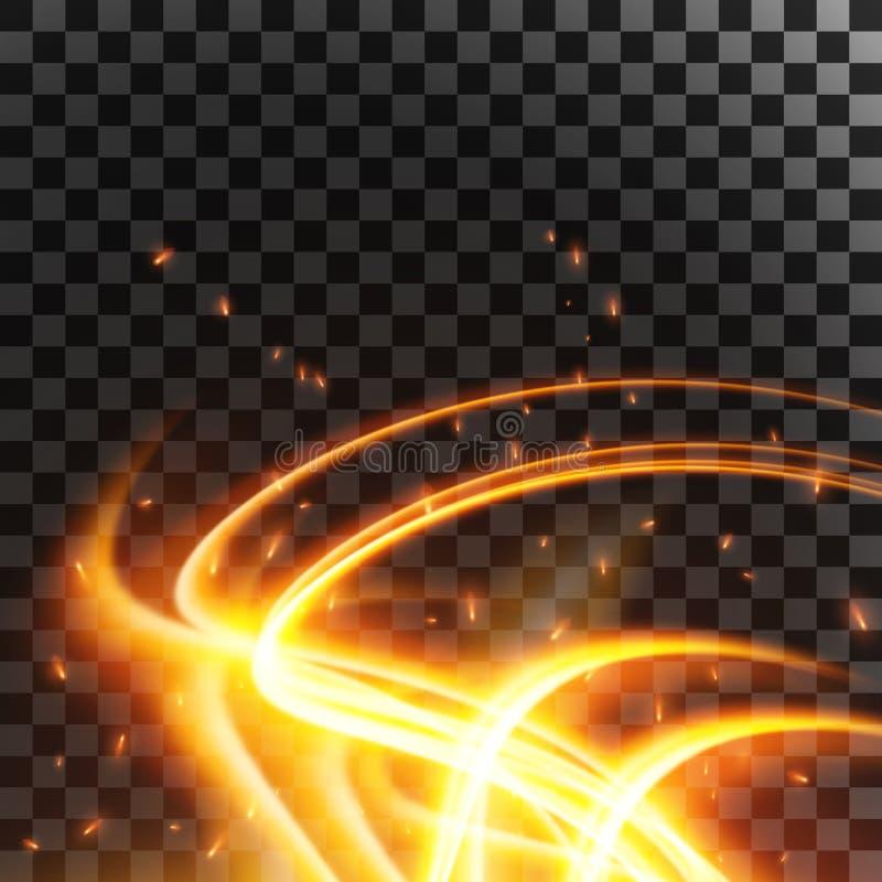 Llamarada abstracta y chispas del efecto luminoso aisladas en backgroundt transparente Ilustración del vector libre illustration