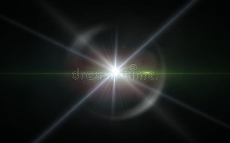 Llamarada de la lente del dígito con la luz brillante en el fondo negro usado para la textura y el material Llamarada de la lente stock de ilustración