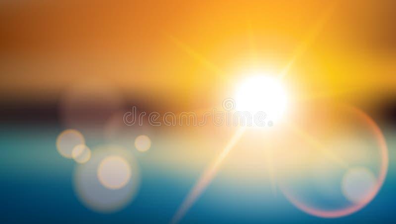 Llamarada de la lente del efecto especial de la luz del sol Fondo brillante borroso ilustración del vector