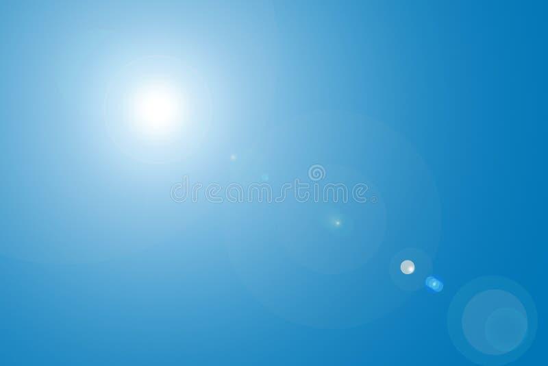Llamarada de la lente en cielo azul ilustración del vector