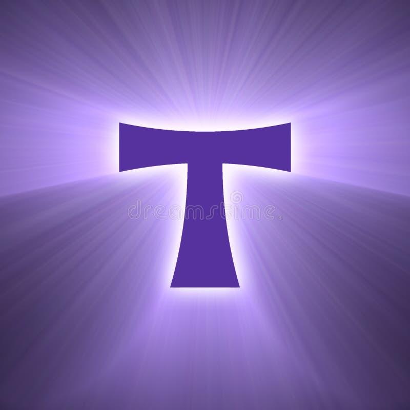 Llamarada de la luz del símbolo de la cruz de Tau stock de ilustración