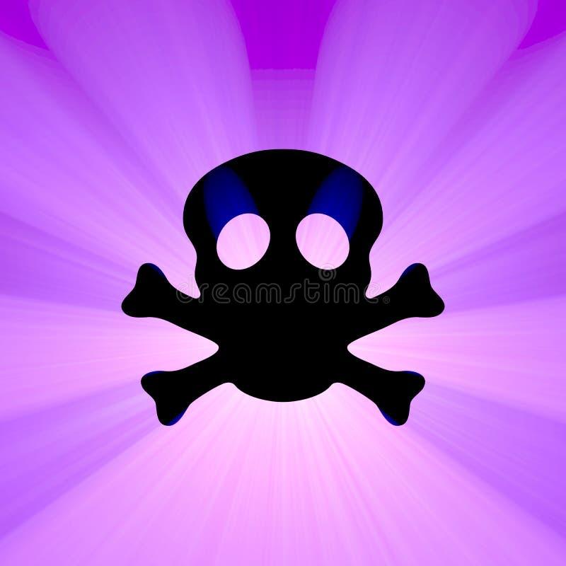 Llamarada de la luz del símbolo de la toxina del cráneo stock de ilustración