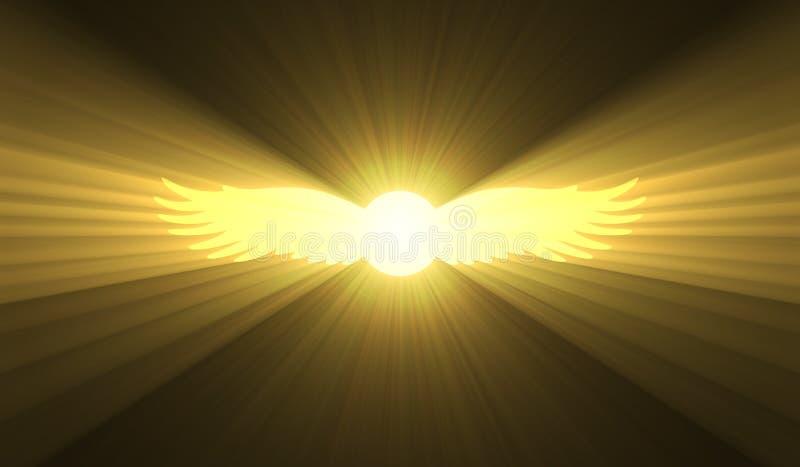 Llamarada egipcia coa alas de la luz del símbolo del sol libre illustration