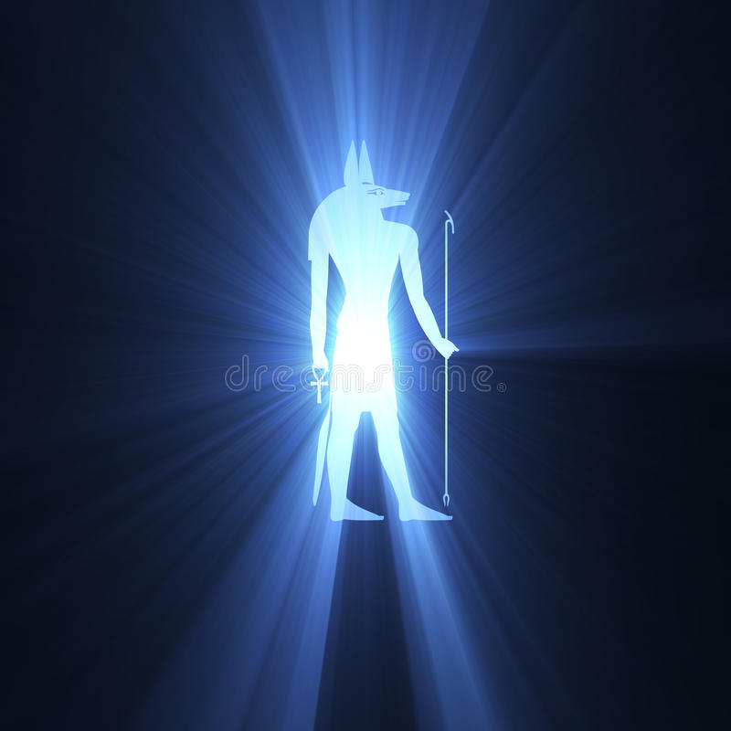Llamarada egipcia de la luz del símbolo de Anubis stock de ilustración
