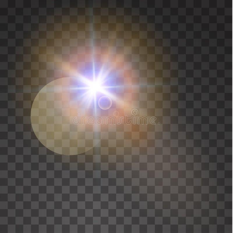 Llamarada especial de la lente de la luz del sol transparente Ilustración del vector ilustración del vector
