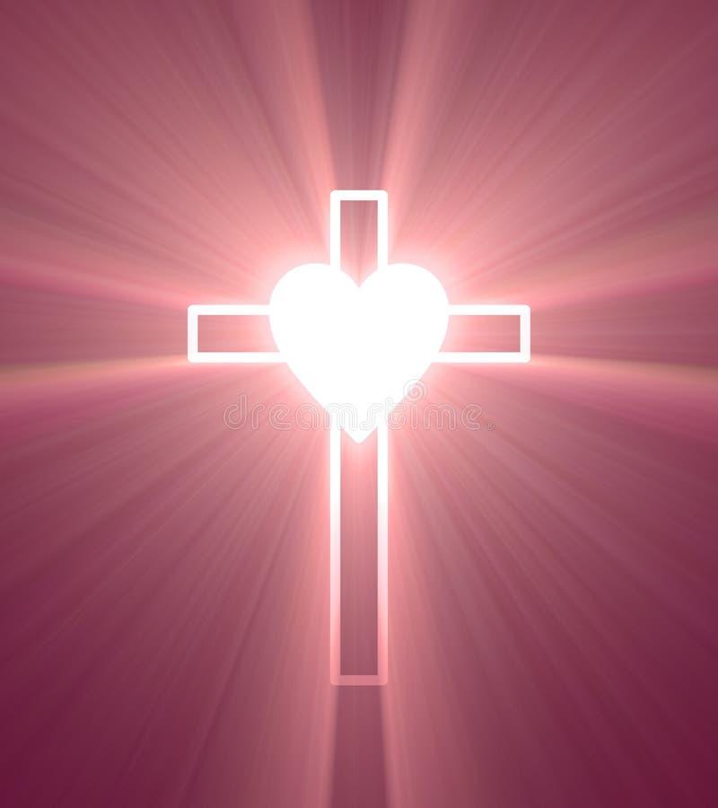 Llamarada ligera brillante de la cruz de la vinculación del corazón stock de ilustración