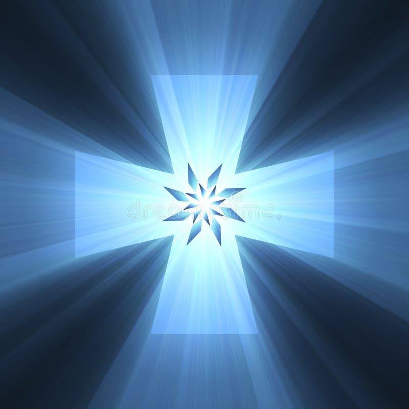 Llamarada ligera brillante del símbolo cruzado azul libre illustration