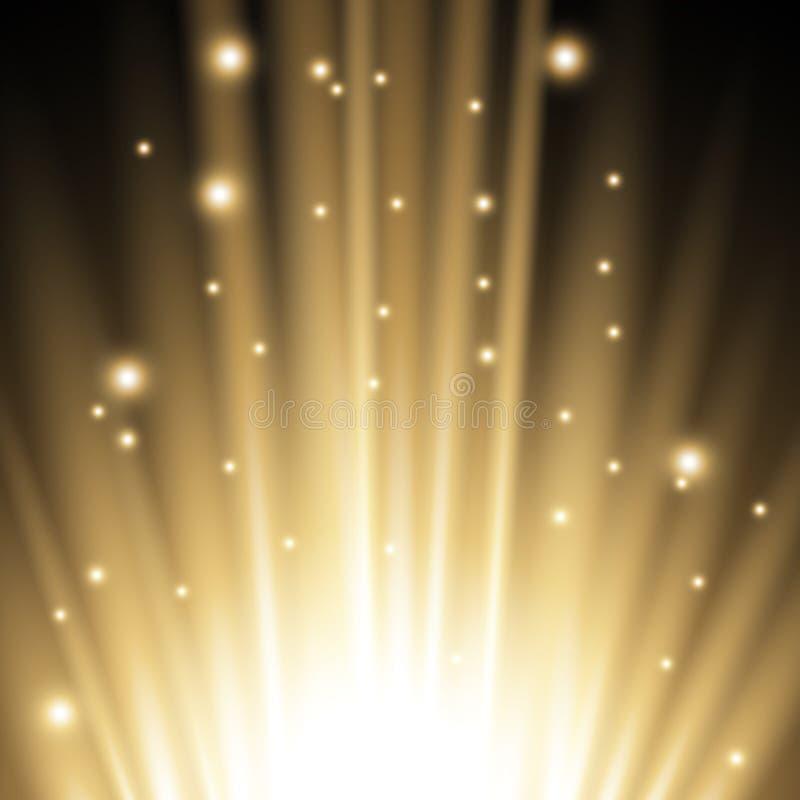 Llamarada ligera de debajo, color de oro stock de ilustración
