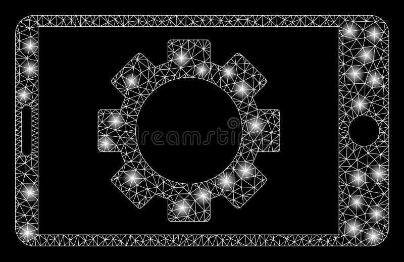 Llamarada Mesh Carcass Mobile Settings Gear con los puntos de la llamarada ilustración del vector