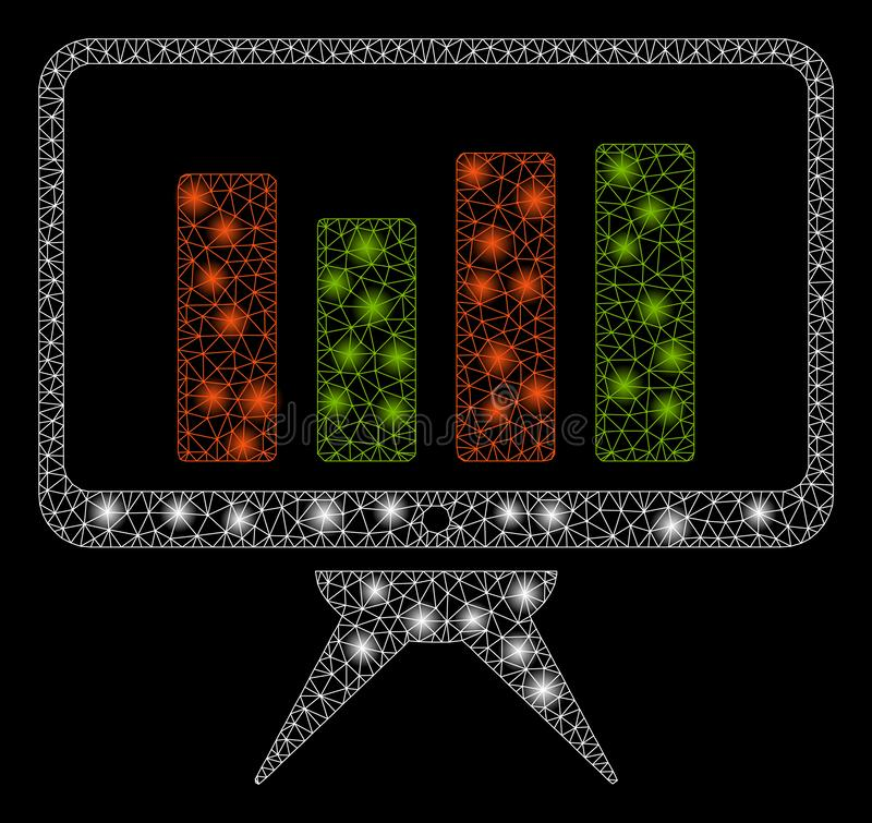 Llamarada Mesh Network Graph Monitoring con los puntos de la llamarada stock de ilustración