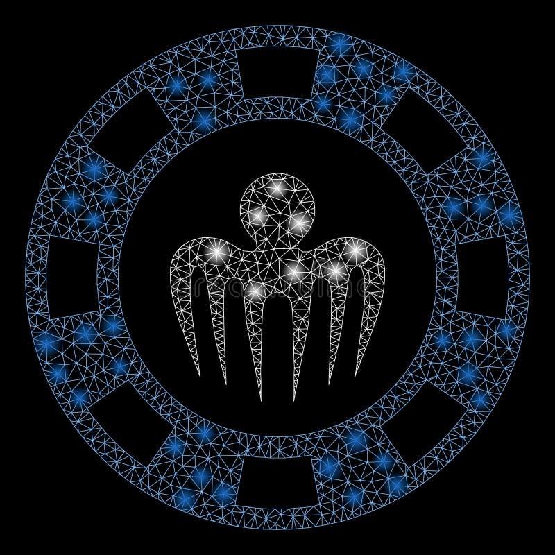 Llamarada Mesh Network Monster Casino Chip con los puntos de destello ilustración del vector