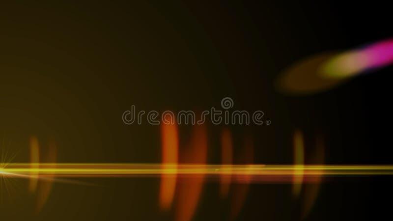 Llamarada real de la lente tirada en estudio sobre fondo negro Fácil añadir como fotos del filtro de la capa o de pantalla stock de ilustración