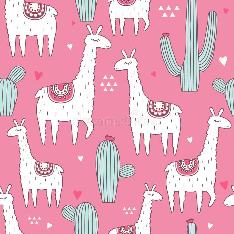 Llamas, κάκτοι και καρδιές, ζωηρόχρωμο άνευ ραφής σχέδιο απεικόνιση αποθεμάτων