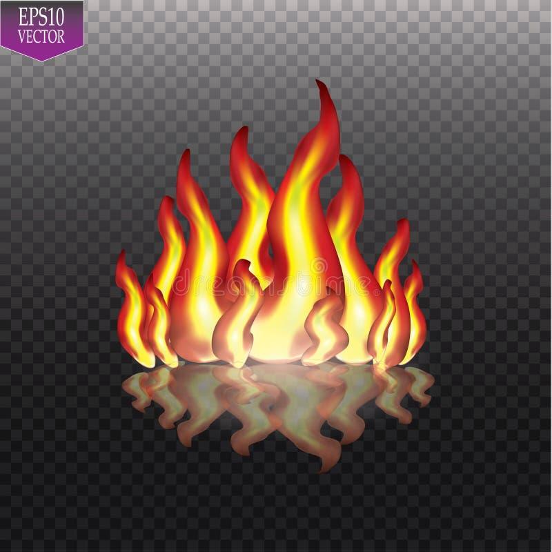 Llamas ardientes del fuego en fondo transparente Efecto luminoso especial del vector ilustración del vector
