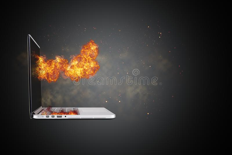 Llamas ardientes realistas del fuego en el ordenador portátil imagen de archivo libre de regalías