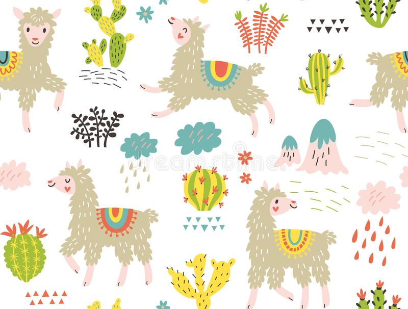 Vector seamless pattern. Llamas and flowers vector illustration