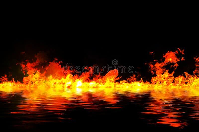 Llamas impresionantes del fuego con la reflexión del agua fotos de archivo libres de regalías