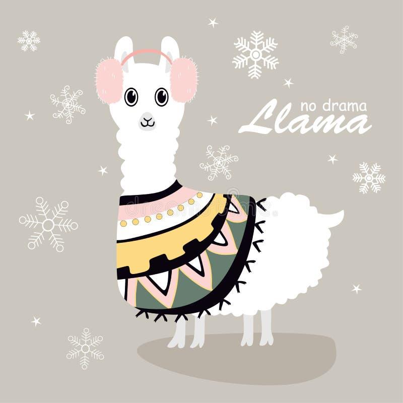 Llamas lindas y hermosas con nieve libre illustration