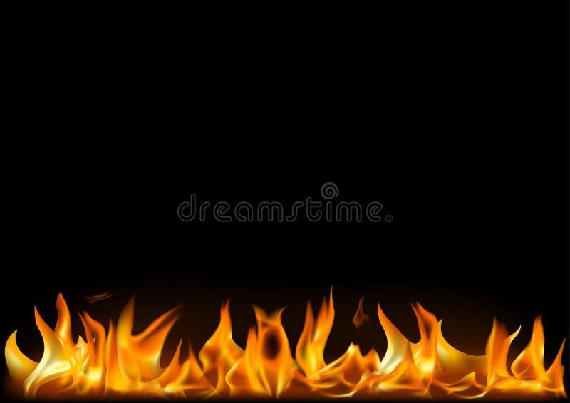 Llamas realistas del fuego en fondo negro stock de ilustración