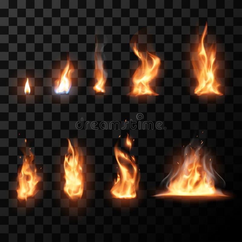 Llamas realistas del fuego fijadas stock de ilustración