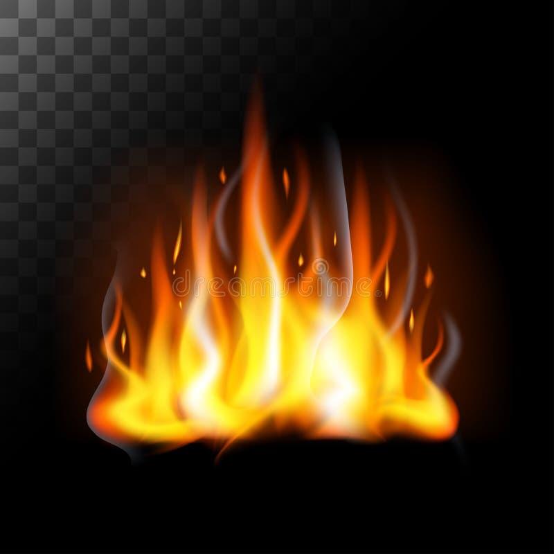 Llamas realistas del fuego translúcidas ilustración del vector