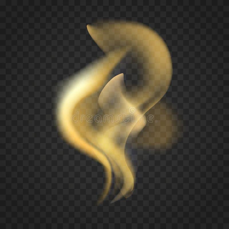 Llamas realistas transparentes del fuego aisladas en fondo oscuro ilustración del vector