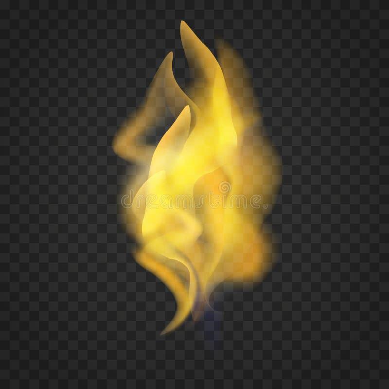 Llamas realistas transparentes del fuego en fondo oscuro ilustración del vector