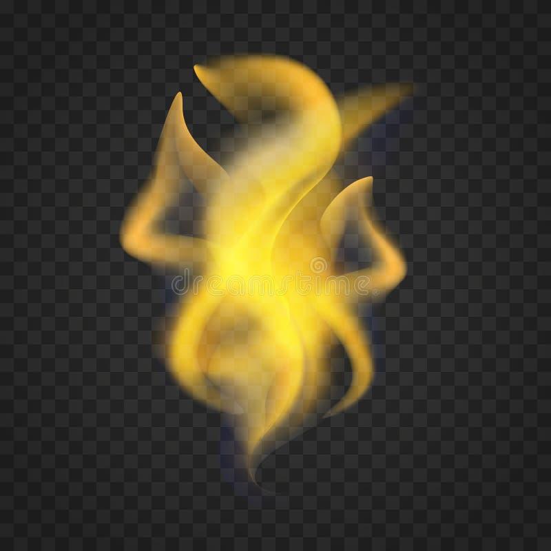 Llamas realistas transparentes del fuego en fondo oscuro libre illustration