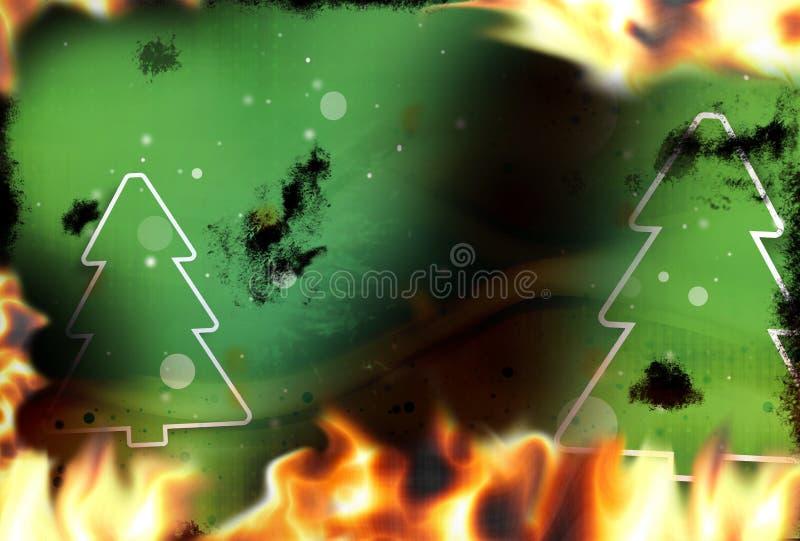 Llamas verdes del fuego de los abetos que queman el fondo stock de ilustración
