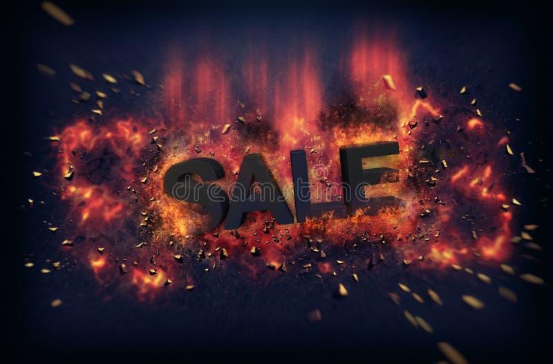Llamas y chispas ardientes del explosivo - VENTA imagen de archivo