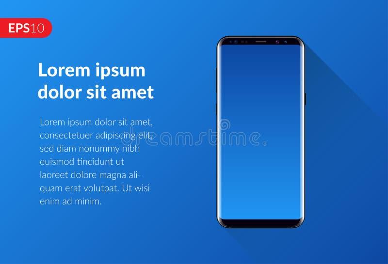 Llame por teléfono, composición móvil del diseño del smartphone aislada en plantilla azul del fondo Teléfono realista de la maque imagen de archivo