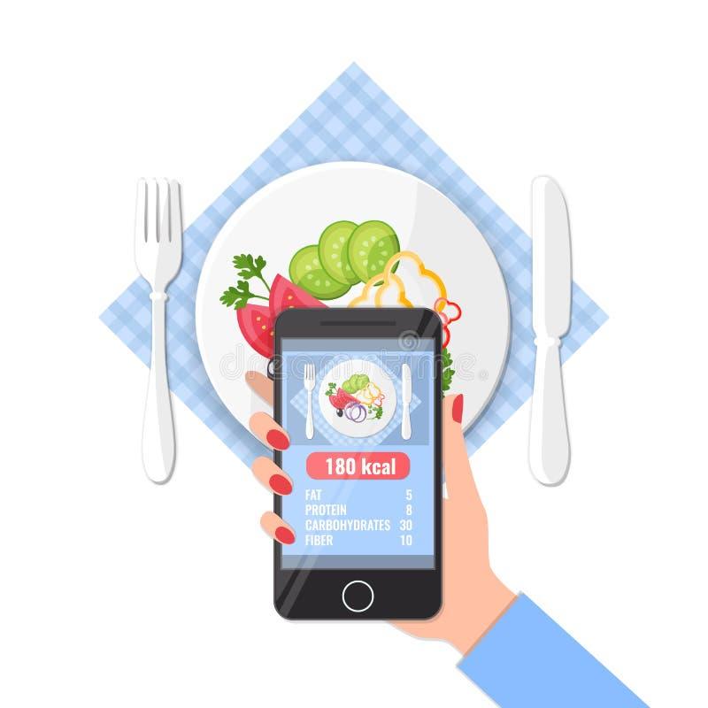 Llame por teléfono con el app de contar calorías en fotos en un smartphone libre illustration