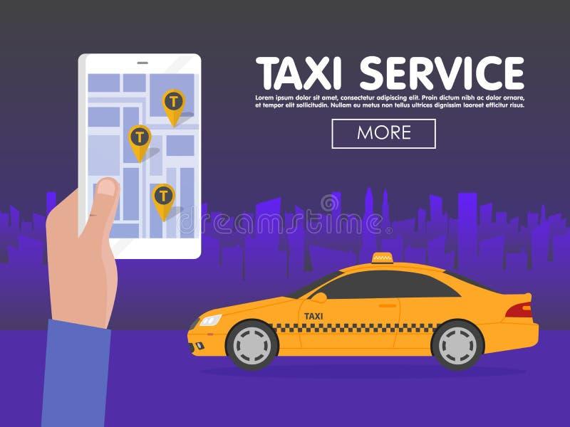 Llame por teléfono con el taxi del interfaz en la pantalla en fondo a la ciudad App móvil para el servicio de reservación Ejemplo ilustración del vector