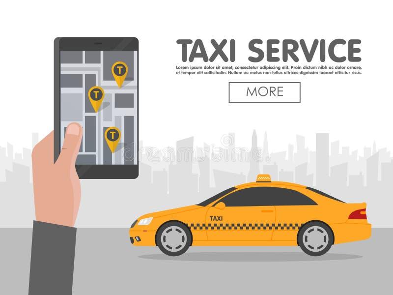Llame por teléfono con el taxi del interfaz en la pantalla en fondo a la ciudad App móvil para el servicio de reservación ilustración del vector