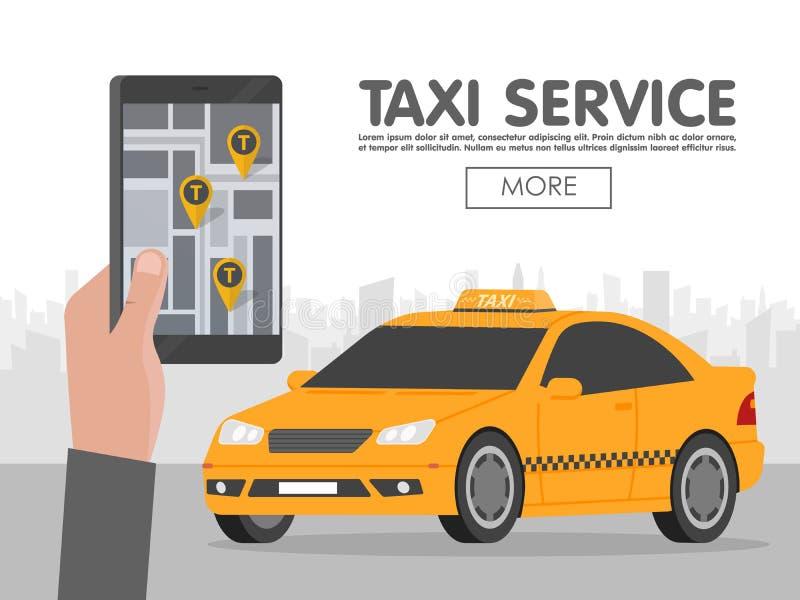 Llame por teléfono con el taxi del interfaz en la pantalla en fondo a la ciudad App móvil para el servicio de reservación Ejemplo libre illustration