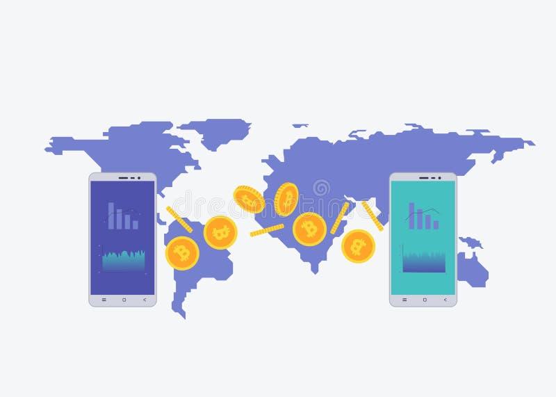 Llame por teléfono con moneda crypto en la pantalla con el mapa en el fondo Concepto comercial de Bitcoin Diagrama y estadística  libre illustration