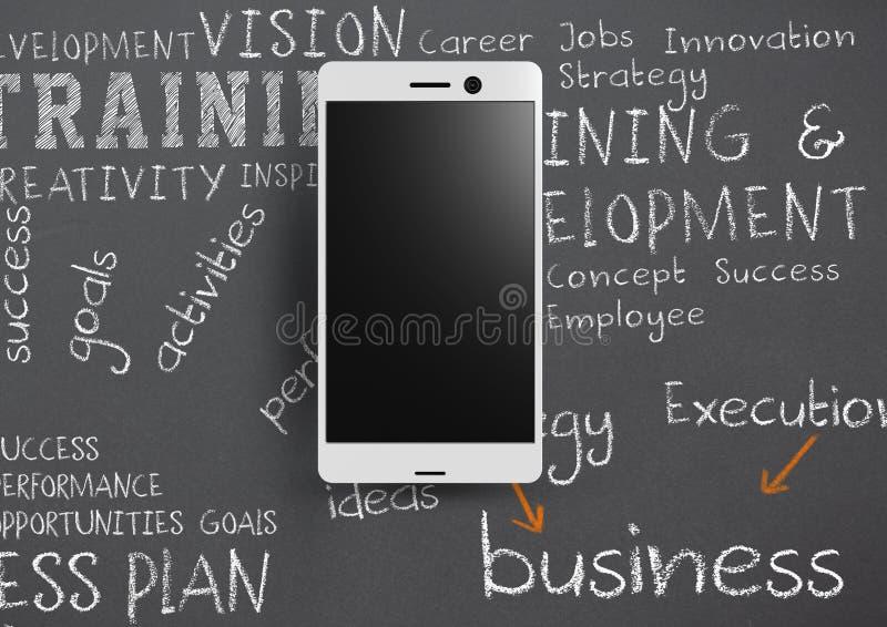 Llame por teléfono contra fondo gris con palabras escritas tiza del entrenamiento del negocio ilustración del vector