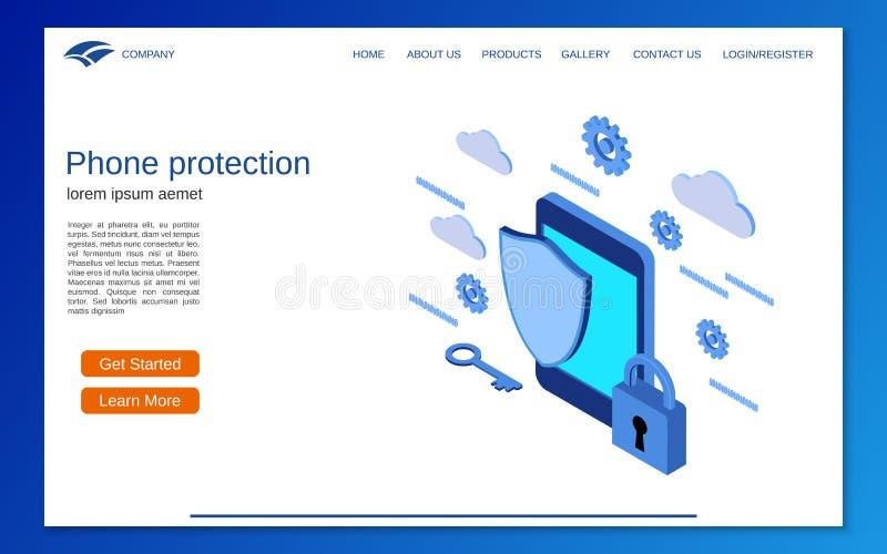 Llame por teléfono a la protección, concepto isométrico plano del vector 3d de la seguridad informática ilustración del vector