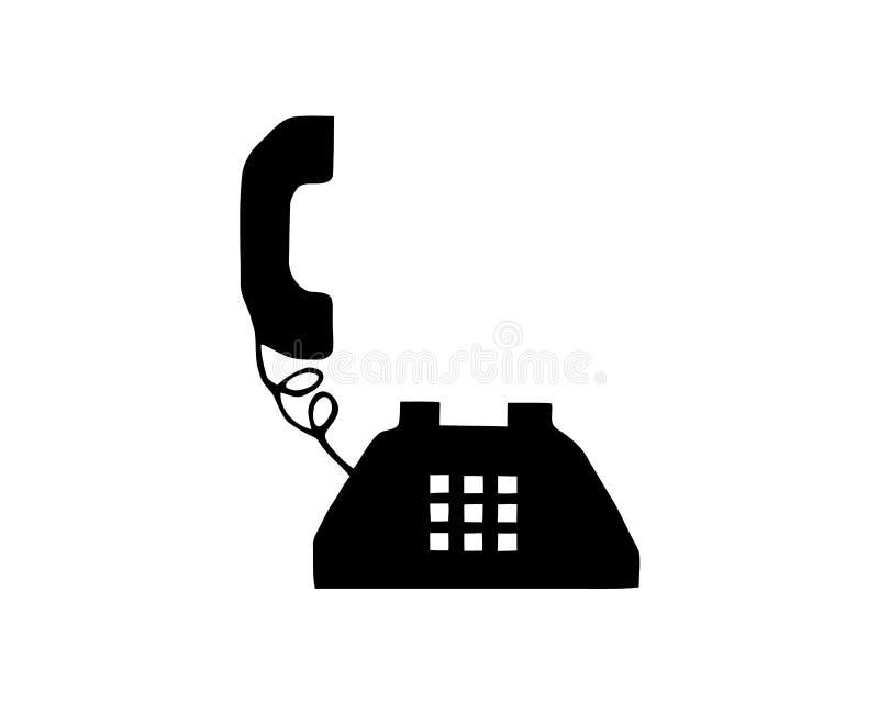 Llame por teléfono a la silueta retra vieja del esquema del negro del ejemplo del vector de la acción del icono del vintage aisla ilustración del vector