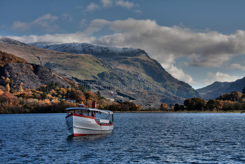 Llanberis. In Autumn and Llyn Padarn in the heart of Snowdonia National park stock image