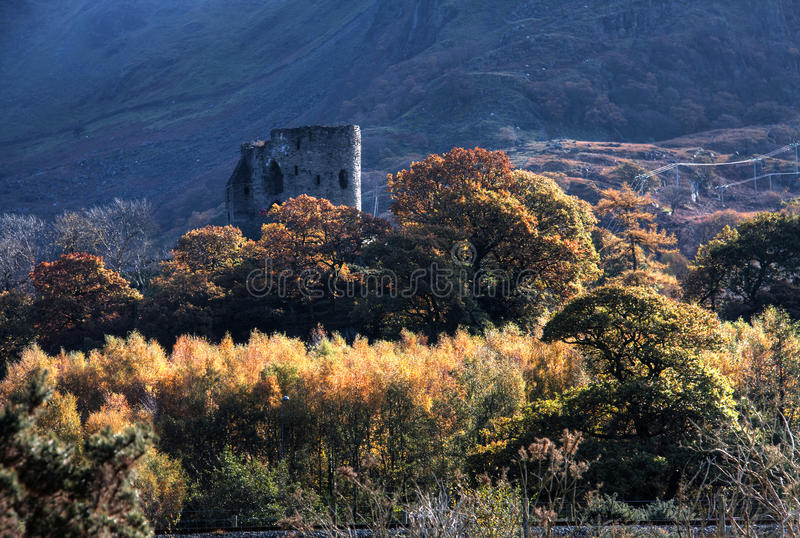 Llanberis In Autumn. And Dolbadarn ruined castle Snowdonia National park royalty free stock photo