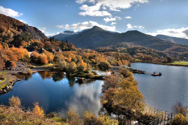 Llanberis In Autumn. And Llyn Padarn in the heart of Snowdonia National park royalty free stock images